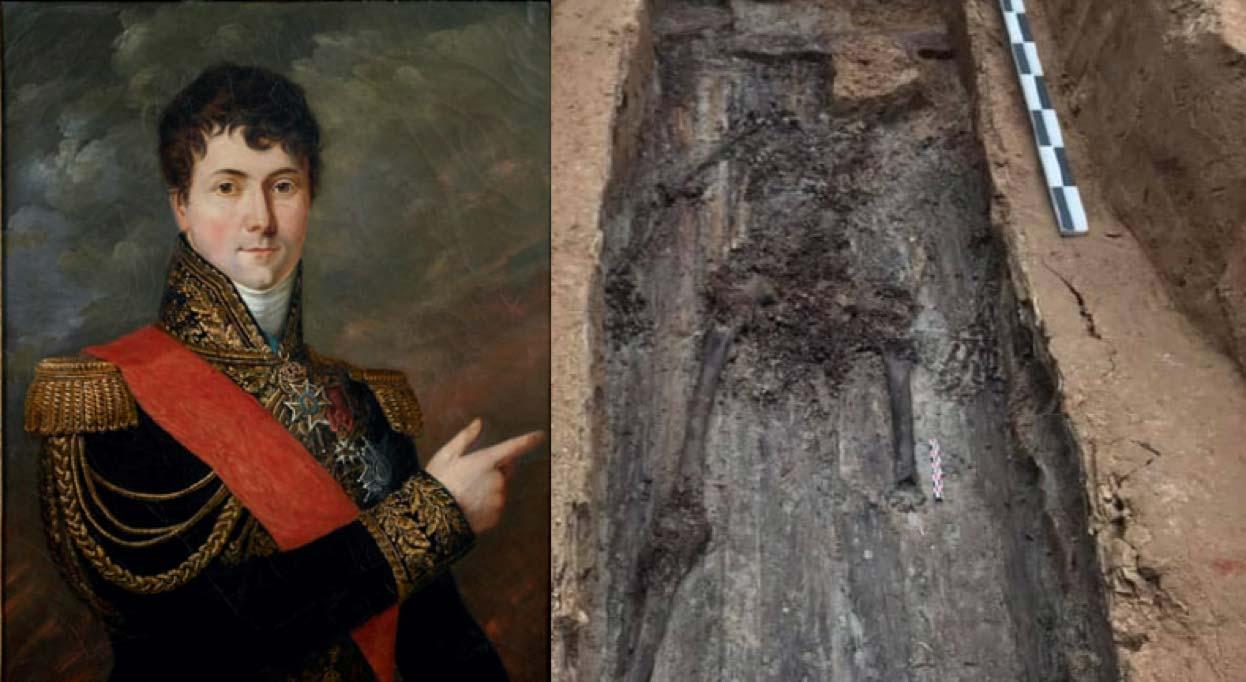 Retrato del general Charles Etienne Gudin (1839) de Georges Rouget (Dominio público) y los restos esqueléticos que se cree pertenecen al General. (Pierre Malinowski)