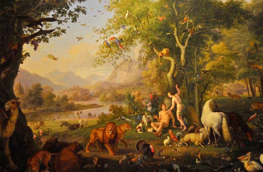 Adán y Eva en el jardín del Edén por Wenzel Peter, Museo del Vaticano (fotos de faungg / flickr)