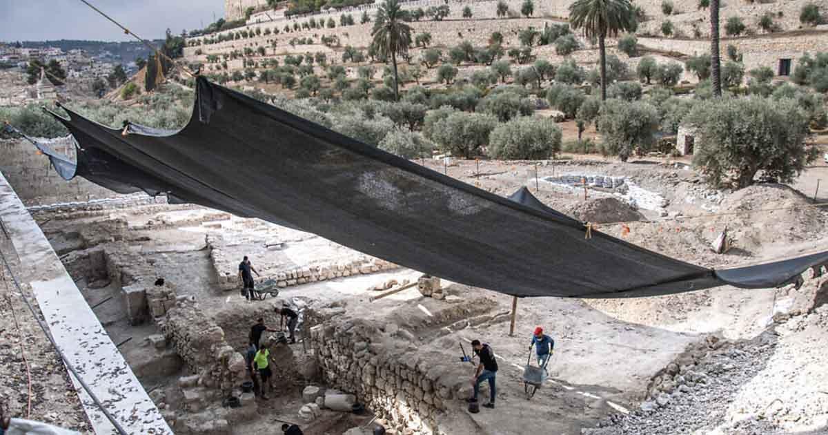 El sitio arqueológico del área del jardín de Getsemaní donde se encontraron los baños rituales (extremo izquierdo, más allá del marco de esta imagen).