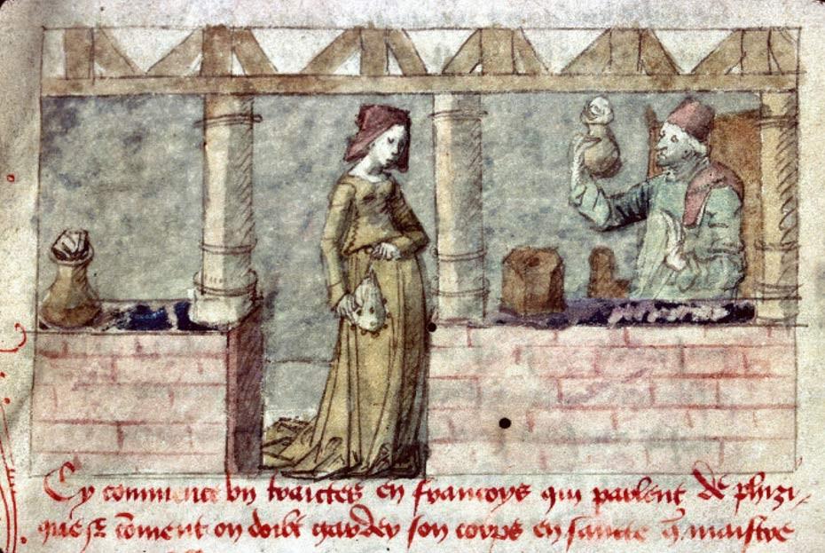 Una mujer busca compuestos curativos en una botica francesa, ilustración del siglo XV. (Dominio Público)