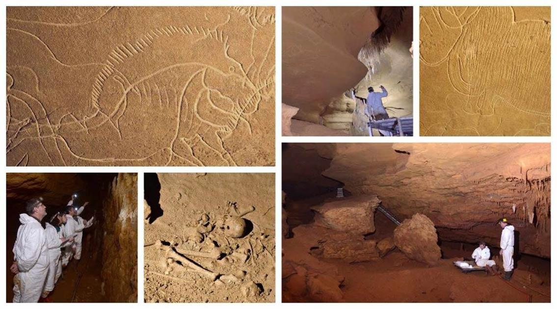 Imágenes del interior de Grotte de Cussac en Dordoña, Francia, que muestran el arte rupestre y los antiguos restos humanos encontrados dentro de la cueva, y del equipo de investigación en el trabajo.
