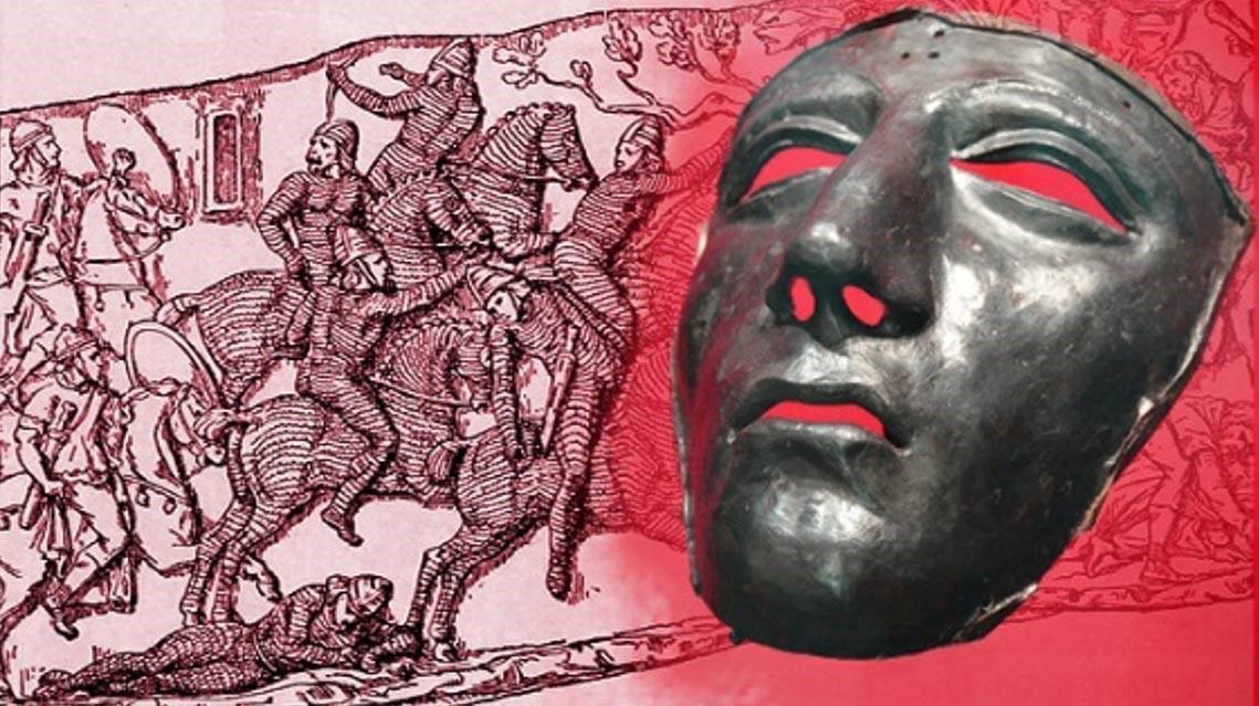 Deriv; máscara facial para casco de caballería romana, siglo I d. C. (CC BY-SA 2.0) y escena de batalla con jinetes partos con armadura y jinetes romanos. (Dominio público)