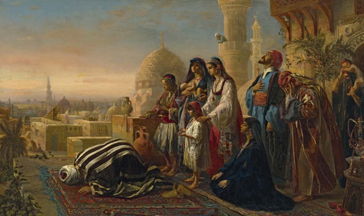 Pintura de Jean Baptist Huysmans del siglo IX que muestra a una familia islámica egipcia durante una oración vespertina. Fuente: Cool Art / CC BY NC SA 2.0
