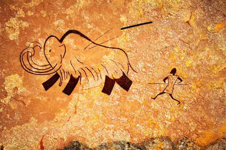 Pintura rupestre de una caza primitiva en una época en la que todavía abundaban las grandes presas. El desarrollo del cerebro humano aumentó cuando había muchos menos grandes mamíferos fáciles de cazar o ninguno en absoluto.