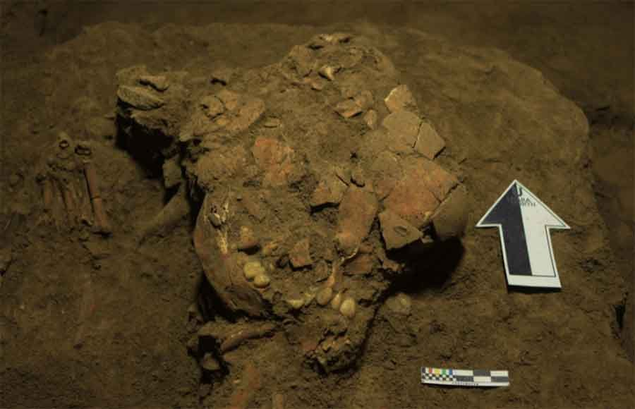 Restos fragmentarios del cráneo humano de una toaleana. El ADN encontrado en su oído demostró que era de un linaje humano extinto. Fuente: Universidad de Hasanuddin / Nature