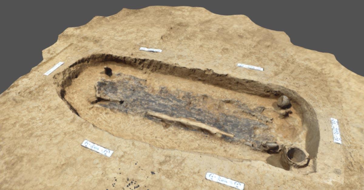 Una impresión en 3D de la tumba guerrera de la Edad de Hierro. Fuente: UCL / Sketchfab / ASE