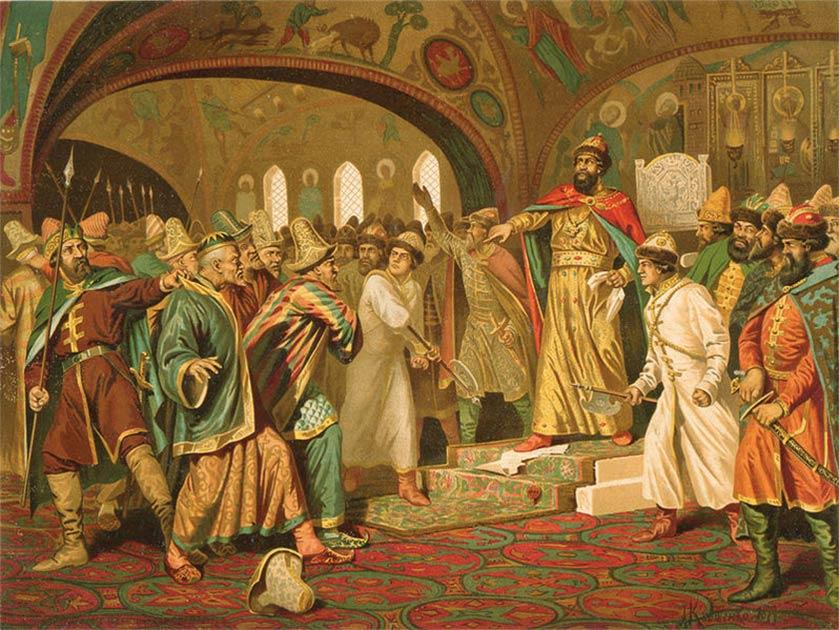 Iván el Grande destrozando la carta del khan. Fuente: Aleksey D. Kivshenko / Dominio público