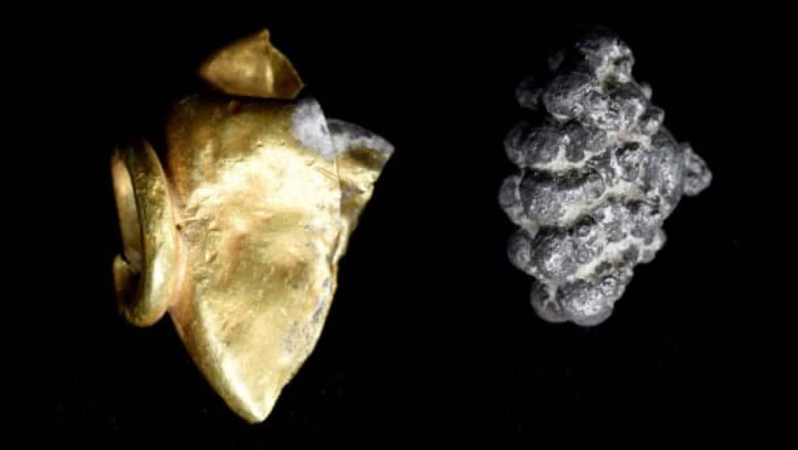 Joya de oro y plata encontrada en el Monte Sión. Crédito: Expedición Arqueológica del Monte Zion / Virginia Withers