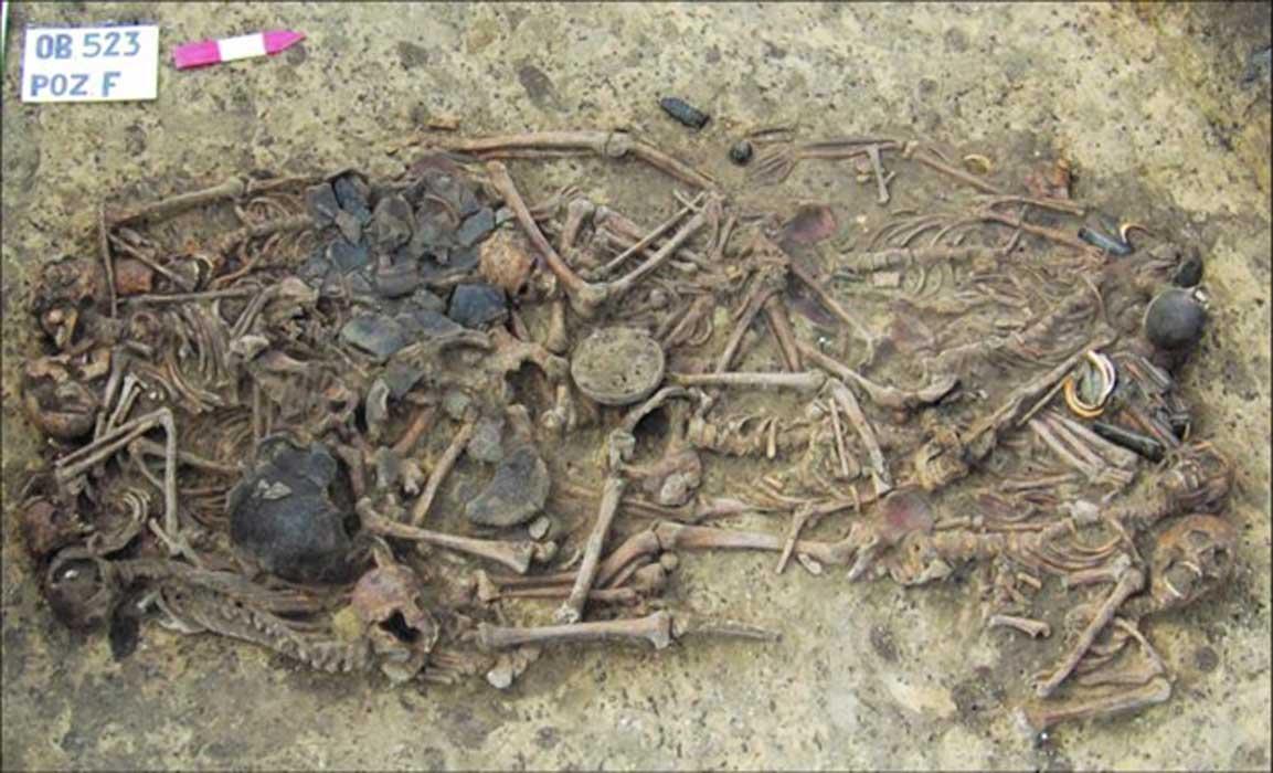 La fosa común de 15 esqueletos y bienes de la tumba en el entierro de Koszyce. Fuente: H. Schroeder et al / PNAS.