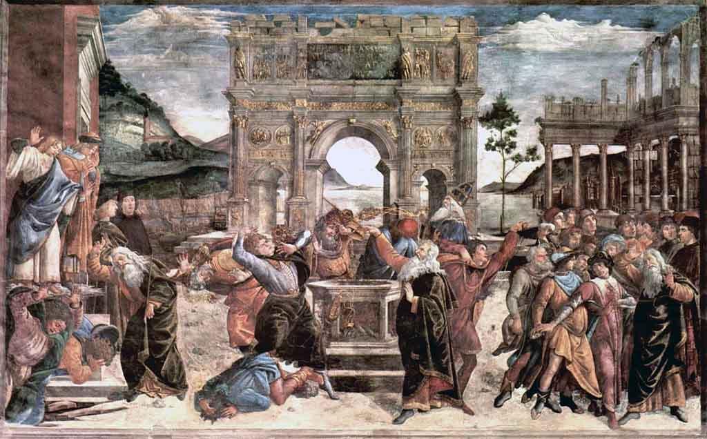 El castigo de los levitas por Botticelli. Fuente: Sandro Botticelli