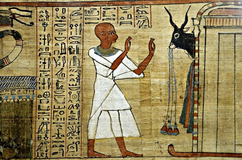 Papiro egipcio, Libro de los muertos. Fuente: BlackMac / Adobe Stock.
