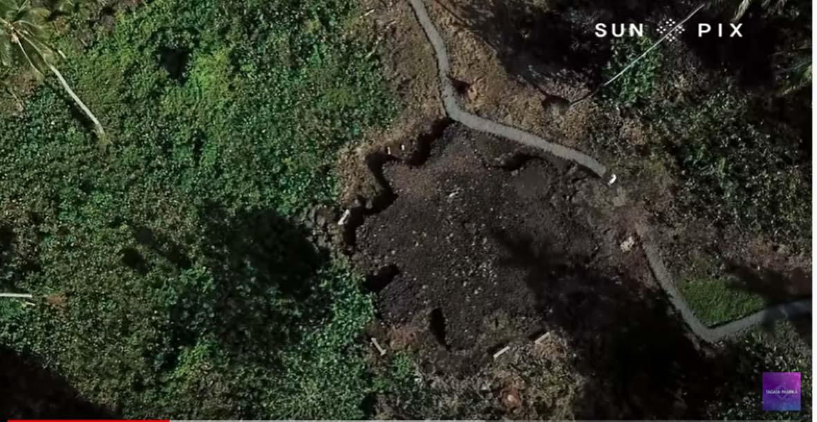 Uno de los muchos montículos de estrellas ahora revelados en Samoa Americana. Fuente: Tagata Pasifika / Youtube Screenshot