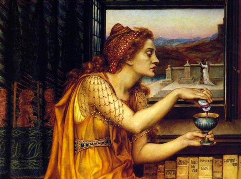 """Detalle de """"La poción de amor"""" (1903) de Evelyn de Morgan. A diferencia de la creación de esta mujer, las pociones de Locusta of Gaul se hicieron con odio. Fuente: dominio público"""