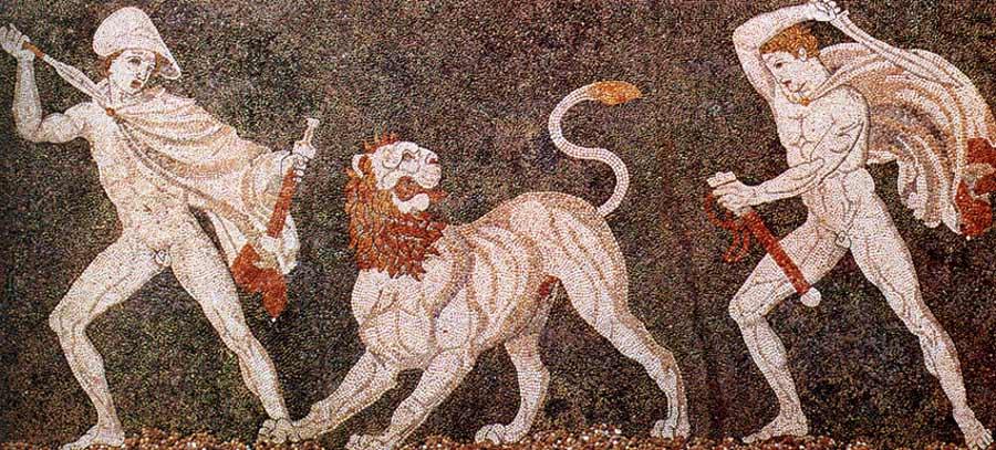 Aunque este mosaico muestra a Alejandro el Grande luchando contra un león con un compañero, también se relaciona con cómo Lisímaco llamó la atención de Alejandro desde el principio al matar a un león con sus propias manos.