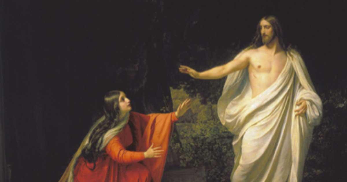 La aparición de Jesucristo a María Magdalena. María Magdalena ve solo a Jesús resucitado.