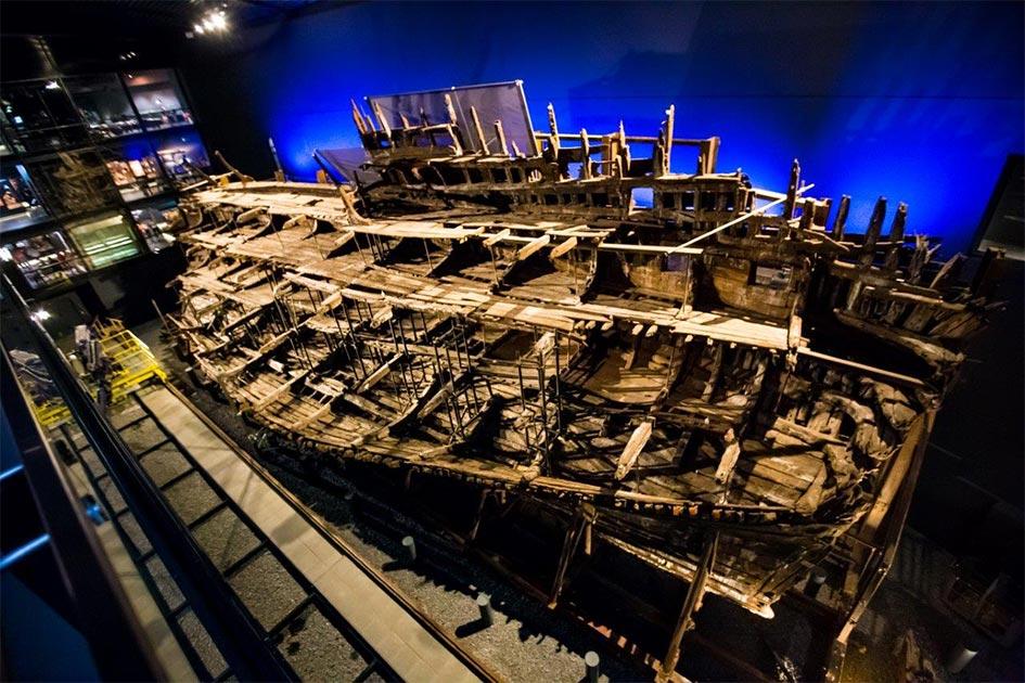 El barco Mary Rose conservado en exhibición. Fuente: Mary Rose Trust / Universidad de Warwick