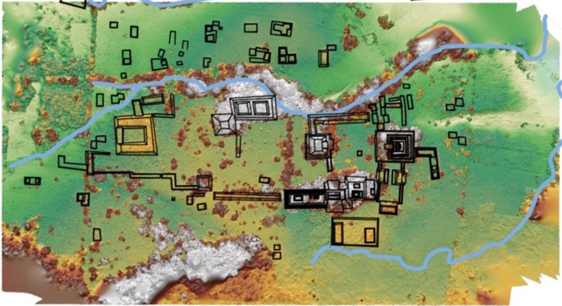 Mapa del Reino Maya, Sak Tz'i, desenterrado en México. Fuente: Charles Golden / Brandeis University