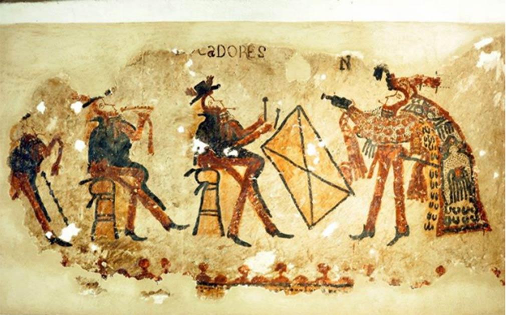Parte de las pinturas murales mayas con músicos vestidos con atuendo europeo (tres figuras a la izquierda) y una bailarina con vestimenta maya (figura de la derecha). Imagen: R. Słaboński / Antiquity Publications Ltd