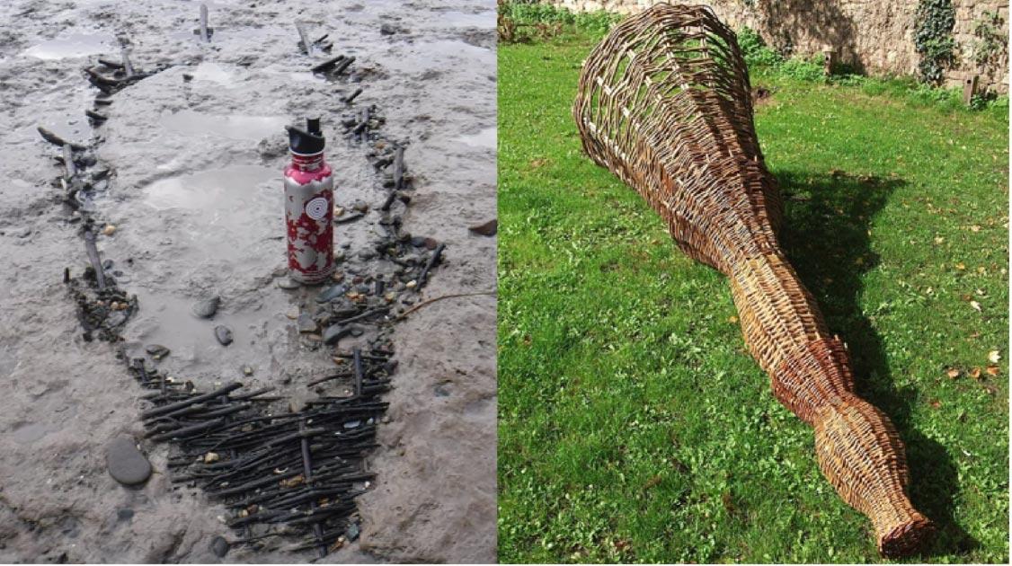 Izquierda: la antigua canasta de pesca medieval ('kype' / 'putt') que data del siglo XIV, que se encontró enterrada en limo y arcilla en el estuario del Severn. Derecha: Esta es una representación de cómo podría haber sido la canasta de pesca medieval. Fuente: Black Rock Lave Heritage Fishery