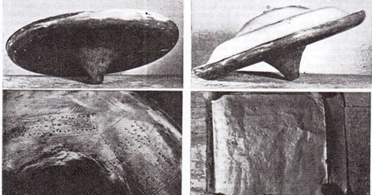 """Imágenes tomadas por el Dr. John Dale en 1958 que muestran el plato intacto, la base de cobre con jeroglíficos y una de las hojas de cobre del """"folleto"""" que contenía un mensaje de Ullo. Fuente: Dr. David Clarke / Universidad Sheffield Hallam"""