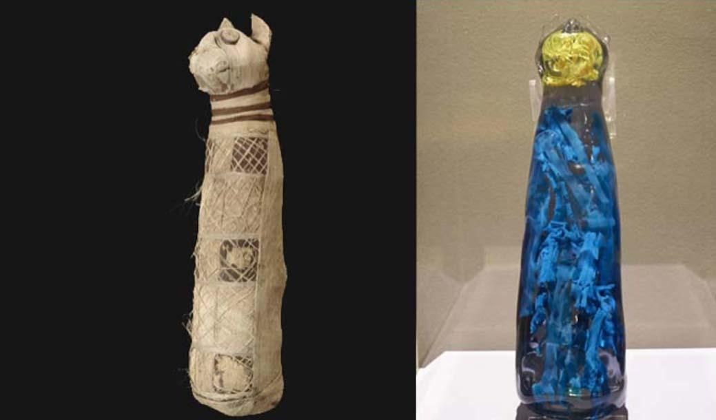 la momia del gato envuelta y la reconstrucción en 3D de lo que está oculto en su interior. Fuente: Museo de Bellas Artes de Rennes