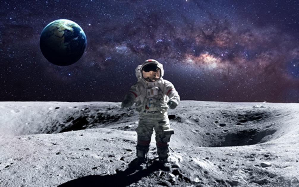 Astronauta en la luna. Crédito: Vadimsadovski / Adobe Stock