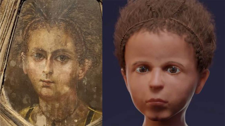 """el """"retrato de la momia"""" del niño egipcio antiguo (izquierda) junto a la reconstrucción facial en 3D recién creada (derecha)."""