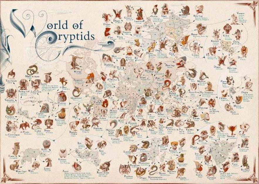 la lista de criaturas míticas principales se ha convertido en un mapa.