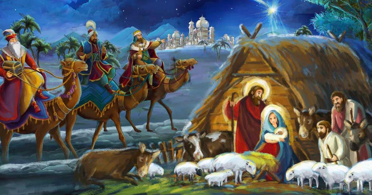 El nacimiento de Jesús con todos sus elementos: los tres reyes, la sagrada familia y la estrella de Belén. Fuente: honeyflavour / Adobe Stock