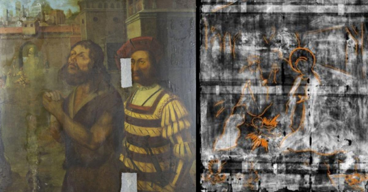 La escena de la Natividad (derecha) fue descubierta por rayos X debajo de la pintura de la decapitación de Juan el Bautista (izquierda). Fuente: Universidad de Northumbria y Museo Bowes