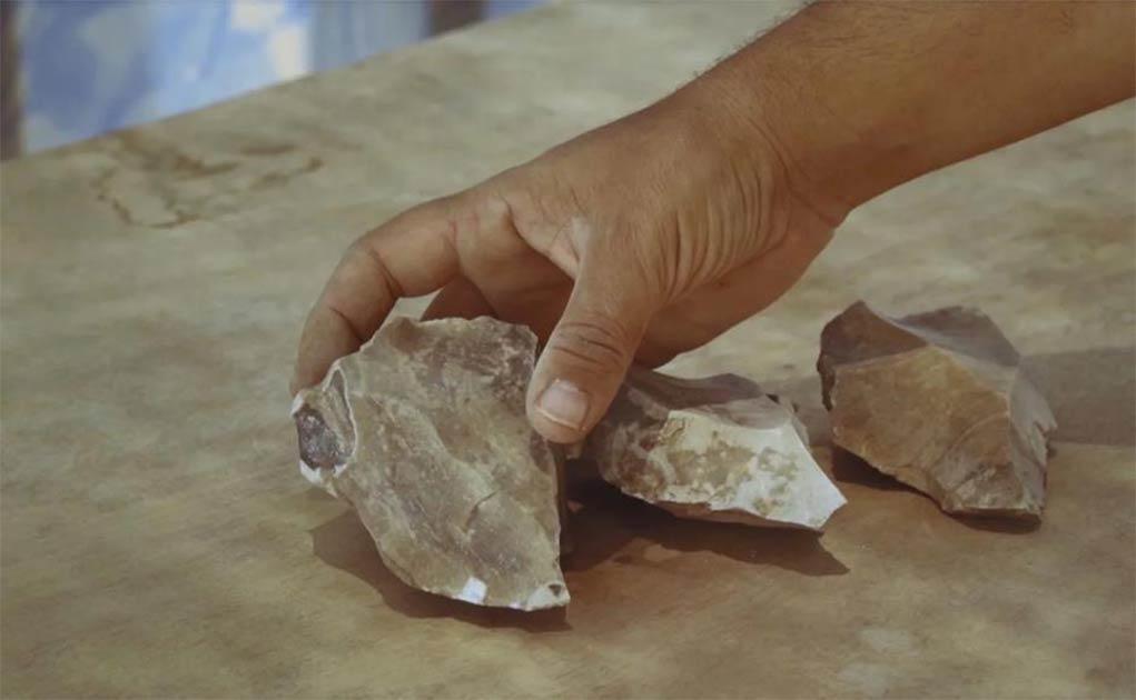 Herramientas con la técnica de Levallois de Nubia encontradas in situ por Dimona, en el desierto de Negev, Israel