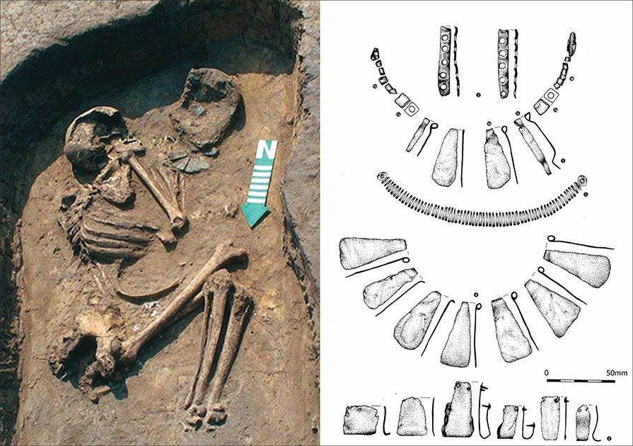 izquierda) Una tumba de Osłonki con valiosos artefactos, visible cerca de las manos; derecha) un dibujo de los artefactos.
