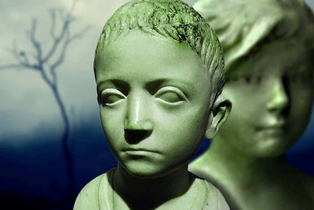 """""""Busto de un niño"""" del siglo I d.C. (dominio público), busto antiguo de niña (Anillo de Nerissa / CC BY 2.0) y En una mañana brumosa (Vinoth Chandar / CC BY 2.0); Deriv"""
