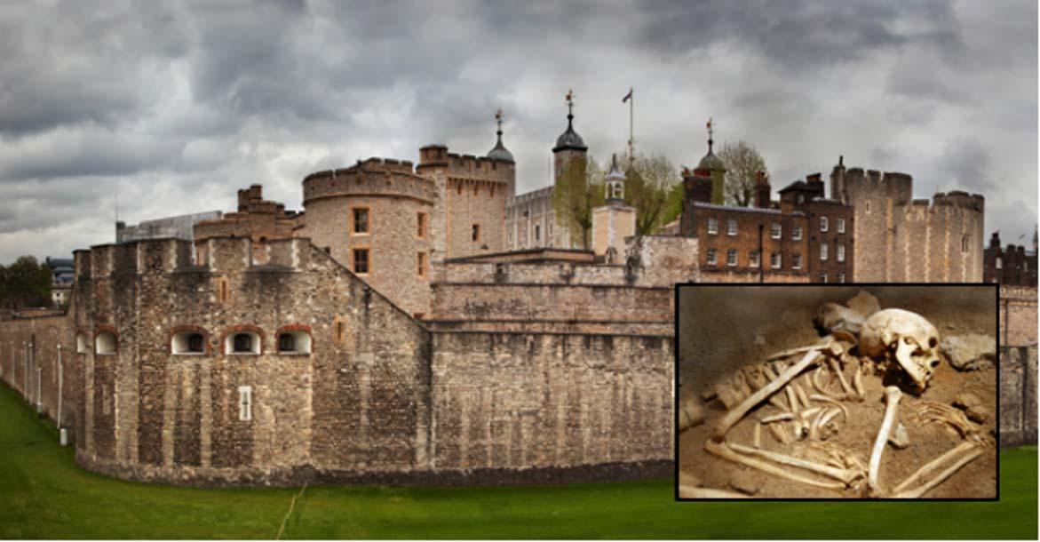 Principal: La Torre de Londres (Photocreo Bednarek/ Adobe Stock). Recuadro: Imagen representativa de un esqueleto (tuulimaa/ Adobe Stock)