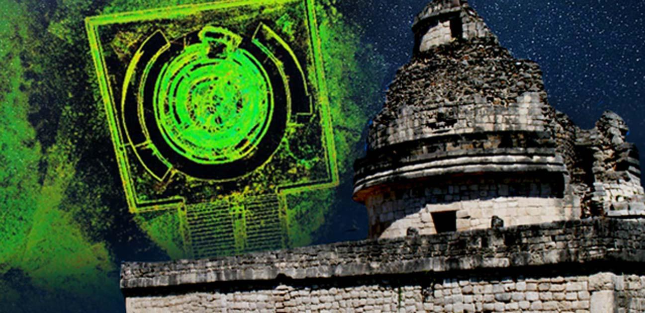 Observatorio El Caracol en Chichén Itzá (Wright Reading / CC BY-NC 2.0) e imagen compuesta de escaneo láser 3D de El Caracol desde arriba