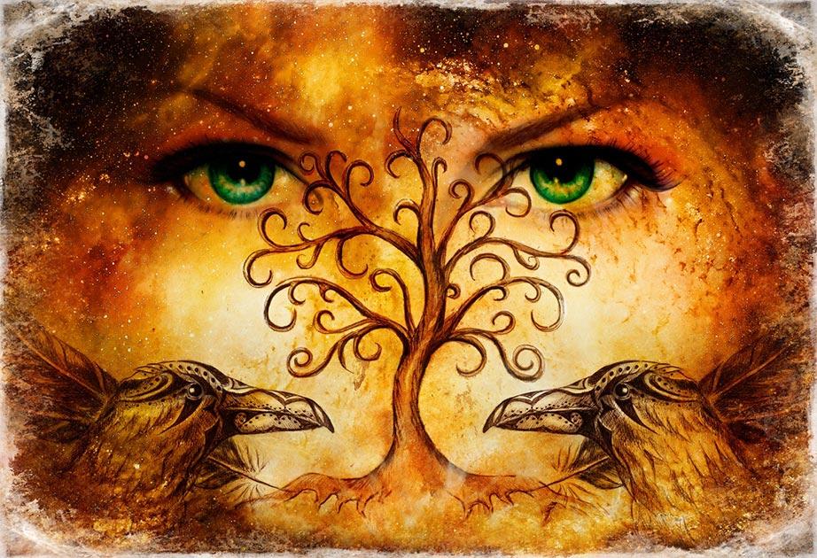 Representación de las diosas que fueron esposas e hijas de Odin. Fuente: Jozefklopacka/ Adobe Stock.