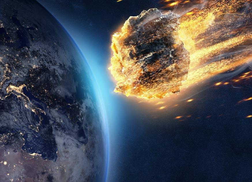 Ilustración del meteorito que ingresa a la atmósfera de la Tierra Fuente: lassedesignen/ Adobe Stock