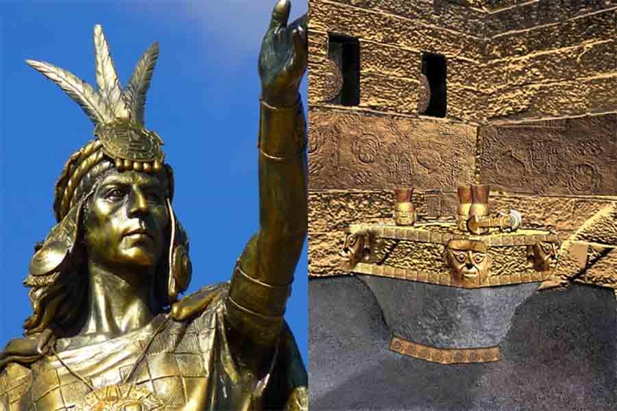 izquierda; La estatua de Pachacuti se puede encontrar en la Plaza de Armas de Cusco. Correcto; Una creación digital del magnífico Templo del Sol en Cusco, donde Pachacuti debió haber invocado al dios sol inca más de una vez en sus oraciones por el imperio gigante que creó en su vida.