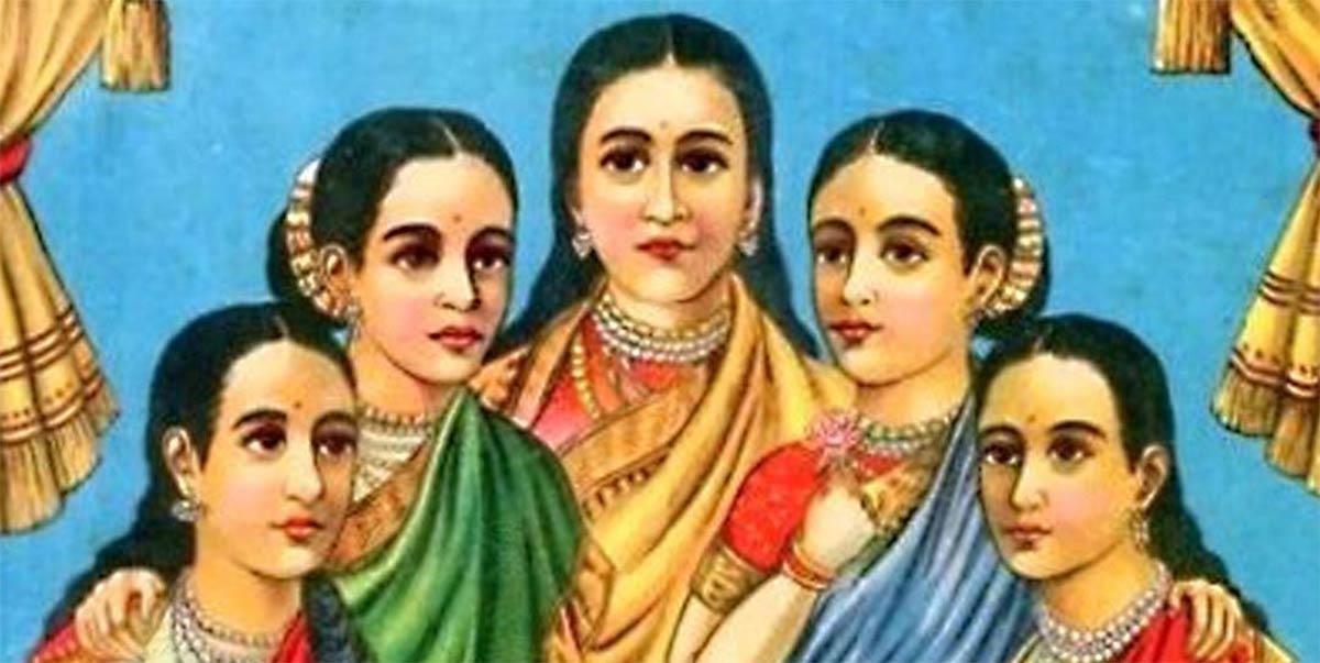 Las cinco doncellas - Panchakanya (Dominio público)