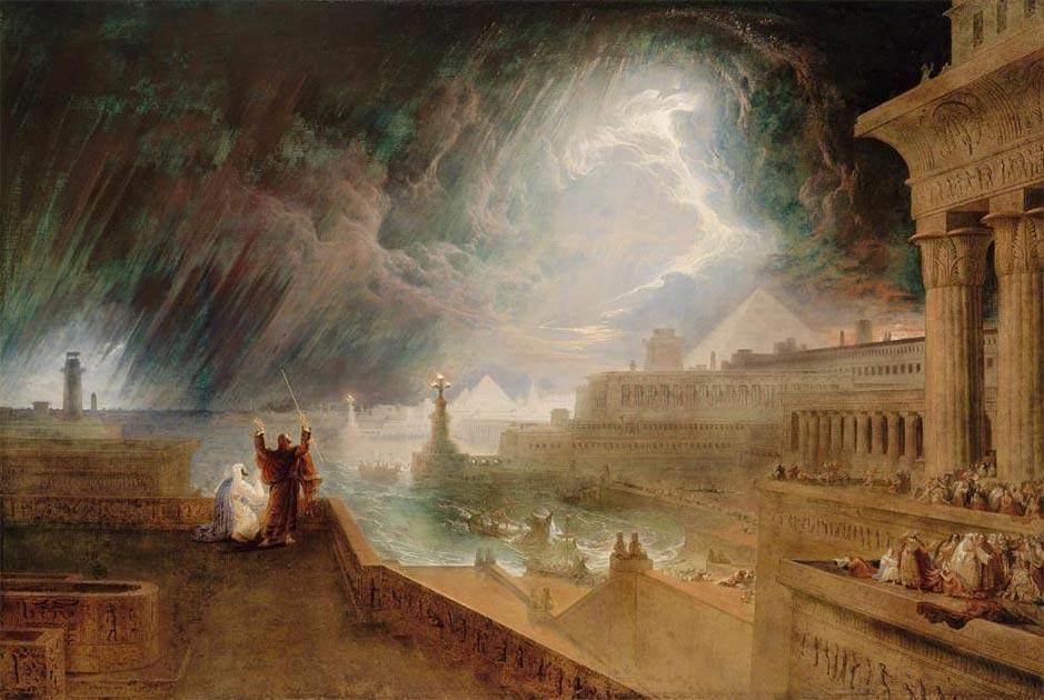 """""""Séptima plaga de Egipto"""" de John Martin (1823), en el Museo de Bellas Artes de Boston, Ascensión número 60.1157. Fuente: dominio público"""