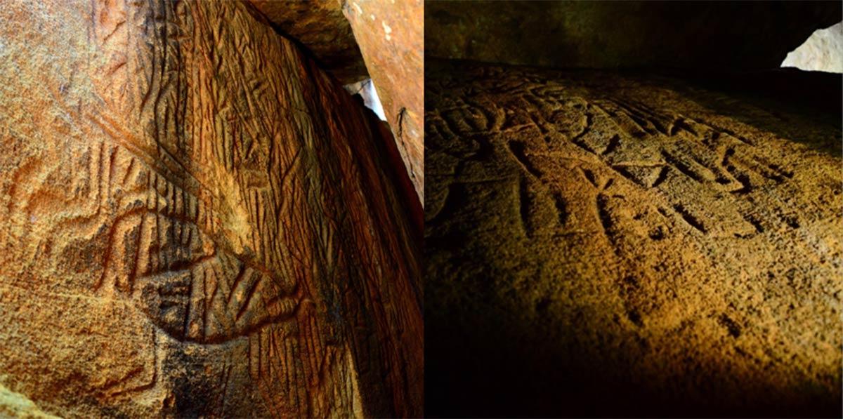 izquierda; Danigala Chithra Lena, Sri Lanka Petroglifos - Entrada de la cámara lineal y pared izquierda que representan secciones de los Petroglifos, incluye figuras antropomorfas, Imagen © EASL   CCF-Polonnaruwa. Derecha; Pared lateral izquierda en el medio de la cámara lineal que representa figuras antropomórficas como el código de unión humana y de la mente maestra. Imagen © EASL   CCF-Polonnaruwa
