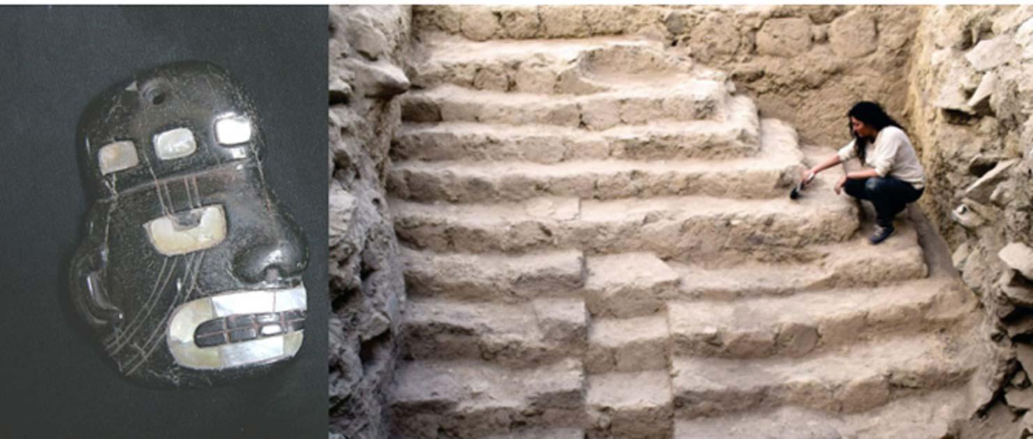 Izquierda: un colgante previamente descubierto realizado por la cultura Sechin. (Museo Lombard / CC BY 3.0) Derecha: La pirámide peruana recién descubierta también fue hecha por la cultura Sechin. (Andina)