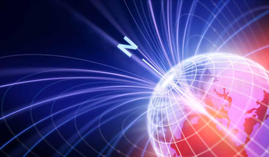 Una representación abstracta de la Tierra con sus anillos magnéticos, que se ven afectados por los cambios de polos.