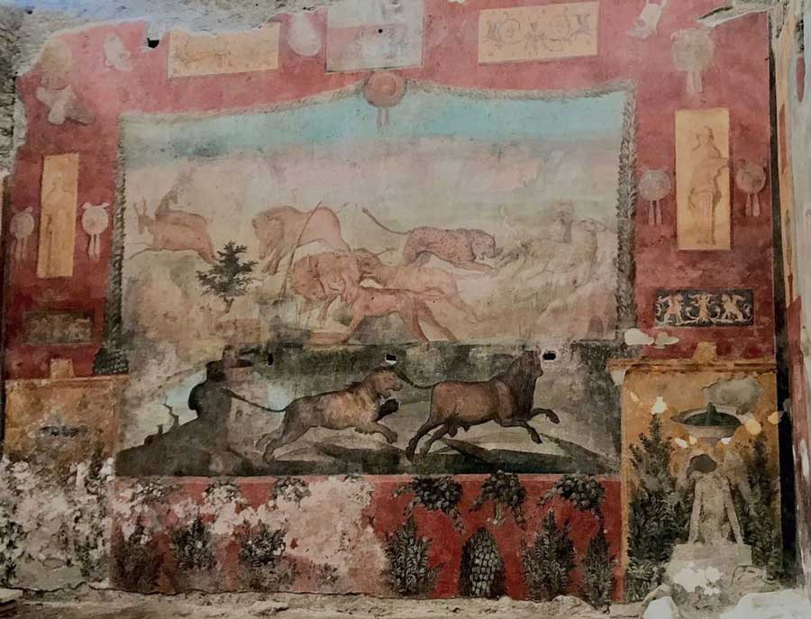 Fresco de Pompeya renovado en la Casa dei Ceii