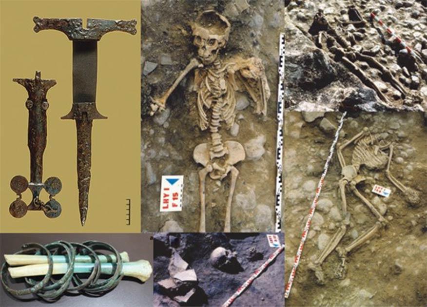 Escenas de asesinatos y devastación en el sitio de la masacre prehistórica española de la Edad del Hierro de La Hoya en Laguardia, País Vasco, norte de España.
