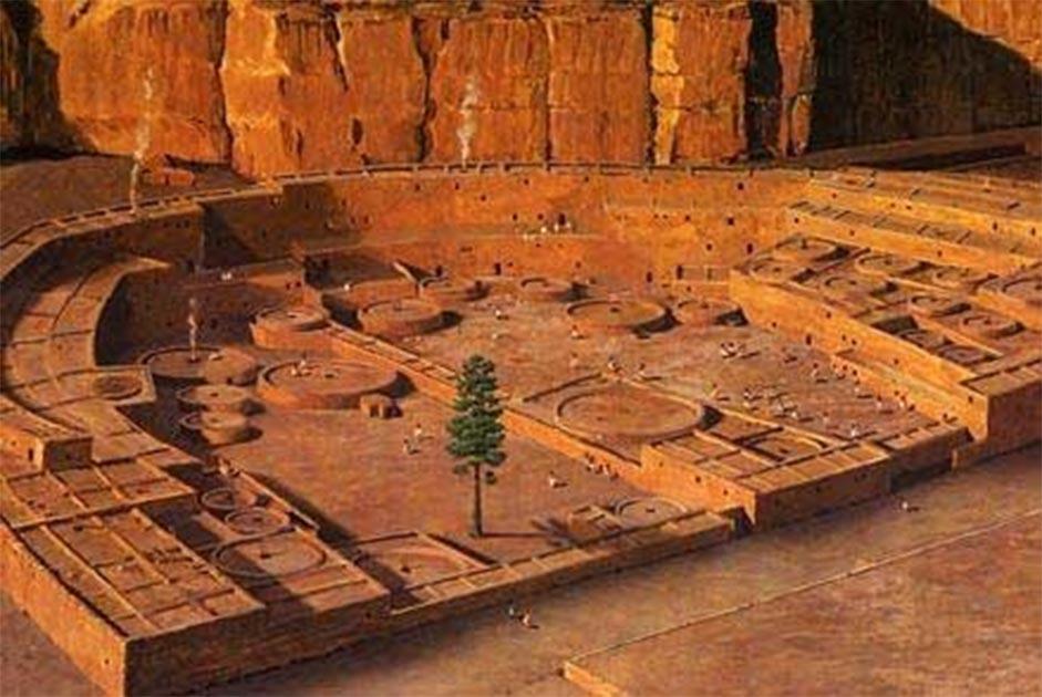 """Esta reconstrucción digital de Pueblo Bonito durante su ocupación máxima representa el """"árbol de la vida"""", que durante mucho tiempo se creyó que había crecido en la plaza. Fuente: University of Arizona"""