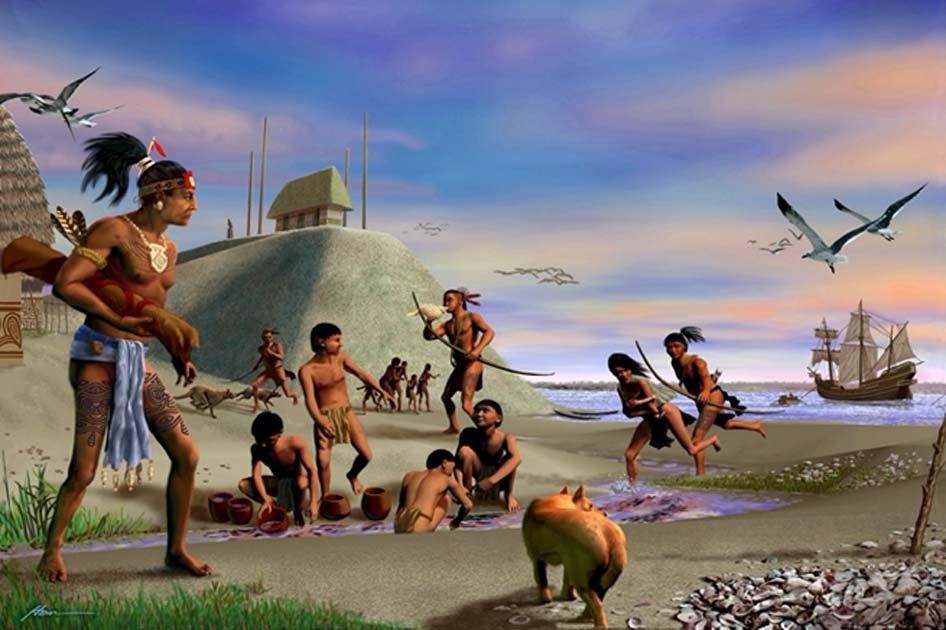 Representación de indios Tocobaga en un asentamiento precolombino en Florida, Estados Unidos. Fuente: pinellascounty.org