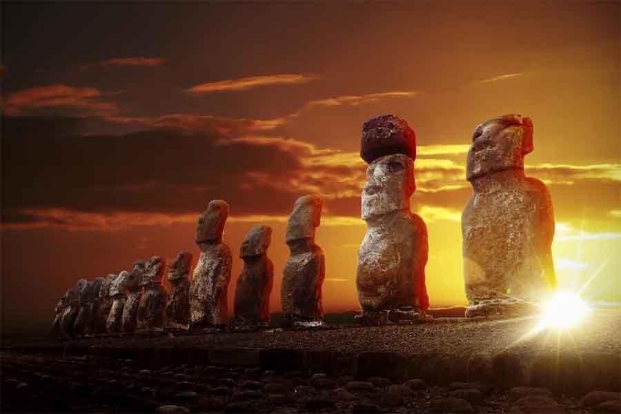 Moai en Rapa Nui, también conocida como Isla de Pascua.