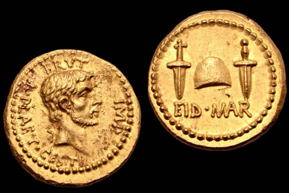 """La rara """"moneda de asesinato"""" celebra el asesinato de César."""