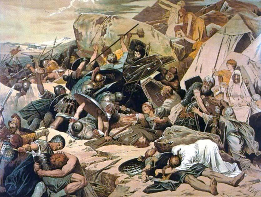 La expansión del Reino Ostrogótico - Los godos en la batalla de Mons Lactarius. Fuente: Hohum / Dominio público